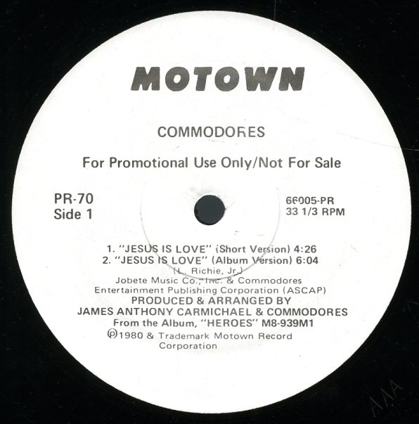 Lionel Richie - The Commodores - Jesus Is Love - YouTube