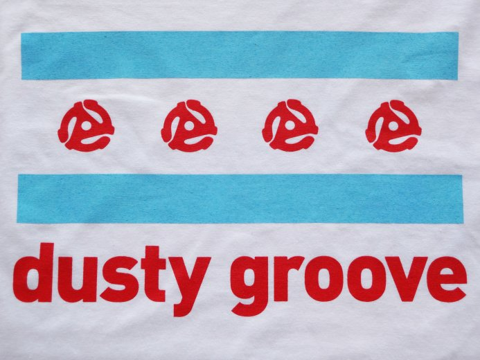 Dusty Groove T Shirt Chicago Flag White Shirt Blue Red Ink