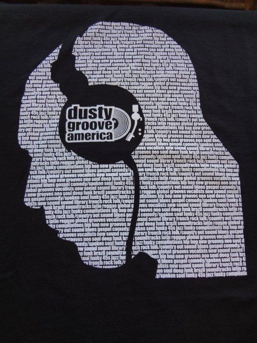 c788a2e28 Dusty Groove T-Shirt! : Headphones – Black Shirt, White Ink (LARGE ...