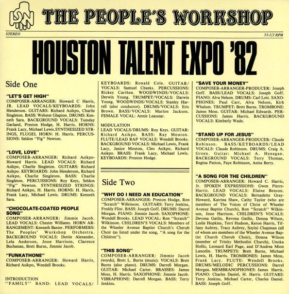 People S Workshop Houston Talent Expo 1982 180 Gram